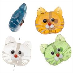 #Kitty Cat Lampwork Glass Novelty #Beads Multi Translucent Color $4.09