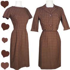 Vintage 50s 60s Brown Dress Bolero Set S