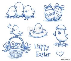 "Laden Sie den lizenzfreien Vektor ""Cute easter icon and chick collection, with easter eggs in basket, different chicks, eggs and nest. Hand drawn vector illustration."" von danielabarreto zum günstigen Preis auf Fotolia.com herunter. Stöbern Sie in unserer Bilddatenbank und finden Sie schnell das perfekte Stockbild für Ihr Marketing-Projekt!"