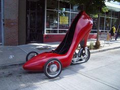 Red Patent Leather Heel motor tricycle...need I say more? I need my Bestie to drive another one so we can make a crazy pair down the road!