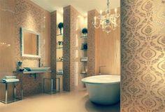 baño con tapiz