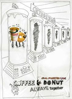 1/4 gran gráfica de Dunkin Donuts para comunicar una de sus promociones. La #solucion fue convertir al café y a los donuts en amigos inseparables, hasta en los momentos más difíciles.