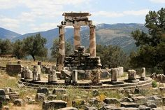 The Oracle of Delphi, Greece  At this ancient temple a priestess would channel the god Apollo answering queries. Circa 580 BC.