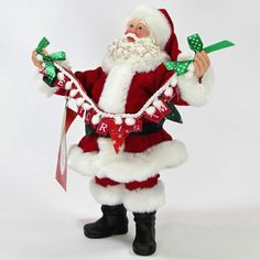 """Department 56 Clothtique Possible Dreams AND A HAPPY NEW YEAR 11"""" Santa 4038720D"""