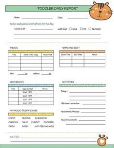 Printable Nanny Log - Daily Toddler Care Sheet - Babysitter Caregiver Baby Tracking Page - PDF Insta - Products - Roasted Toddler Daycare Rooms, Kids Daycare, Home Daycare, Daycare Crafts, Daycare Ideas, Preschool Crafts, Daycare Daily Sheets, Daycare Forms, Nanny Binder