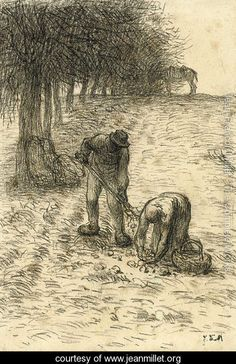 Peasants digging for potatoes, a donkey seen beyond - Jean-Francois Millet - www.jeanmillet.org
