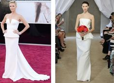 Get the Look: Oscars 2013 | If you liked Charlize Theron's sculpted Dior Haute Couture gown, try this similar peplum silhouette by Carolina Herrera.