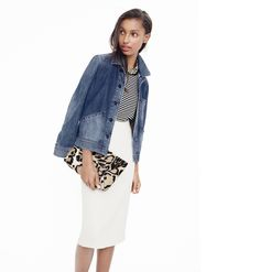 J.Crew Looks We Love: women's denim workwear jacket, Tippi sweater in stripe, No. 2 pencil skirt, bead and crystal fabric-backed necklace and Collection calf hair envelope clutch.