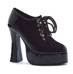 Black 5 Chunky Heel Oxford W/ 1.25 Platform, Witchy, Lace Up, Gothic, Grunge