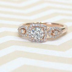 Cushion Halo Diamond Ring in Rose Gold