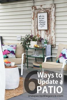 6 ways to update a patio diy home decor дом Patio Decorating Ideas On A Budget, Diy On A Budget, Porch Decorating, Decor Ideas, Decorating Tips, Budget Patio, Diy Patio, Backyard Patio, Backyard Ideas