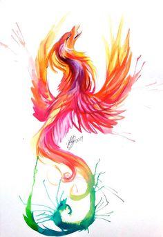 reverse more red, orange, balck at bottom blues pinks at top Phoenix watercolor
