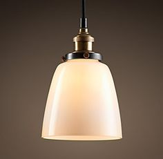 20TH C. FACTORY FILAMENT MILK GLASS CLOCHE PENDANT - AGED STEEL $119 Special $100 Pendants | Restoration Hardware