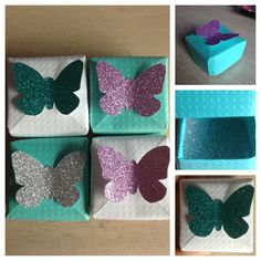 Handmade set of 4 butterfly gift boxes,perfect for small jewellery or gifts! #Butterfly #Glitter #Handmade #Giftbox