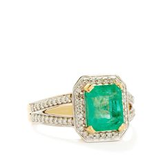 Colombia Emerald & Diamond 18k Gold Lorique Ring MTGW 2.75cts