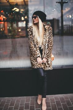 Get bold and give your dark outfit a pop with a leopard jacket!