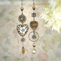 Smitten Asymmetrical Earrings  Boho Wedding  by MiaMontgomery
