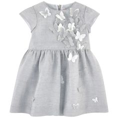 Linen blend on the outside Fine cotton lining Dress: Light   Crew neck Short sleeves Pleats under the waistband Invisible zipper at the back Fabric butterflies - 167.67 €