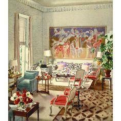 """Watercolor rendering of Eleanor McMillen Brown's living room, Southampton, New York. #mcmilleninc #elizabethhoopes"" Photo taken by @elizabethpyne on Instagram, pinned via the InstaPin iOS App! http://www.instapinapp.com (09/30/2015)"