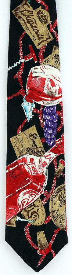 New Wine Tasting Mens Necktie Alcohol Grapes Label Corkscrew Drinking Neck Tie #CharlesGabriele #NeckTie