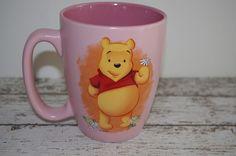 Winnie the Pooh Holding Flowers~Pink Disney Store Coffee Mug~