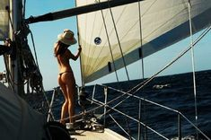 Holding tight to the front stay for the jib sail while checking it to make sure it's okay. Ocean Sailing, Sailing Ships, Sailing Cruises, Boat Girl, Photography Beach, Sailing Adventures, Yacht Boat, Sail Away, Beach Girls