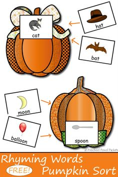 {FREE} Pumpkin Sorting Rhyming Words Game | Preschool Powol Packets