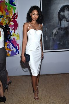 Chanel Iman in a white Misha Collection dress at the 5th Annual Sapphiare Artisan Series Finale // Art Basel style