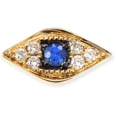 Sydney Evan 14k Yellow Gold Diamond Evil Eye Single Stud Earring ($320) ❤ liked on Polyvore featuring jewelry, earrings, gold, 14k gold earrings, post earrings, yellow gold stud earrings, 14k diamond earrings and gold diamond earrings