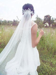 Wedding veil Dotted Veil Bridal Veil Swiss Dot Veil by WanluBridal, $199.00
