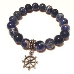Men's blue beaded bracelet with ship wheel charm https://www.etsy.com/listing/486956377/mens-blue-captain-bracelet
