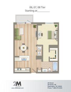 floor plan: One-Bedroom Floor Plan | 2M Street in Northeast Wa... Apartment Floor Plans, Bedroom Floor Plans, House Floor Plans, Carriage House Plans, Small House Plans, Apartment Bedroom Decor, Apartment Layout, One Bedroom House, Bedroom Flooring
