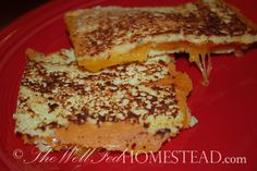 """Grilled Cheese Sandwich - """"bread"""" is made from eggs, parmesan cheese, yogurt and seasonings."""