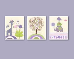 Baby girl Room Decor <3 how cute i love the purple<3