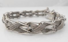 Sterling Mesh Bracelet Designer Signed R by Libbysmomsvintage