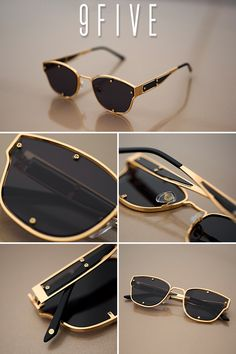 b24926aa667 9FIVE Orion Black   24k Gold Sunglasses