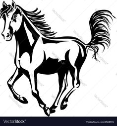 Horse runs Vector Image by tashh1601