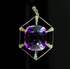 Antique Russian 45 ct. Amethyst Diamond Gold Pendant, St. Petersburg, 1908 #Handmade #Pendant Gold Pendant, Vintage Jewelry, Art Deco, Amethysts, Drop Earrings, Diamond, Antiques, Russia, Handmade