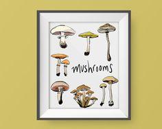 Mushroom Print – Free Shipping, Mushroom Illustration, Botany Print, modern art print,  art, botany illustration, typography, calligraphy