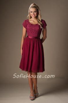 A Line Cap Sleeves Burgundy Chiffon Lace Short Bridesmaid Dress With Sash