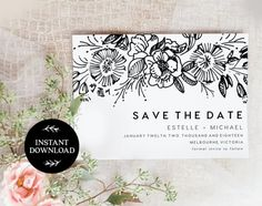 Save the Date Editable pdf Template, INSTANT DOWNLOAD, Printable Wedding invite, DIY Rustic Save the Date, pdf, Digital file - Estelle