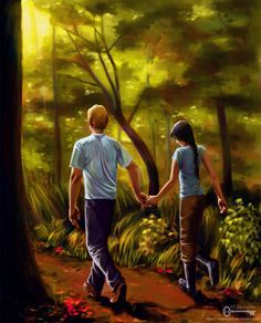 Peeta and Katniss from The Hunger Games by Suzanne Collins. Hunger Games: Here is the Place Where I Love You The Hunger Games, Hunger Games Fandom, Hunger Games Catching Fire, Hunger Games Trilogy, Katniss Everdeen, Katniss Y Peeta, Mockingjay, Suzanne Collins, Fanart