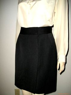 Authentic Vintage 60s VALENTINO Italy SHORT mini Black Wool Wrap Skirt