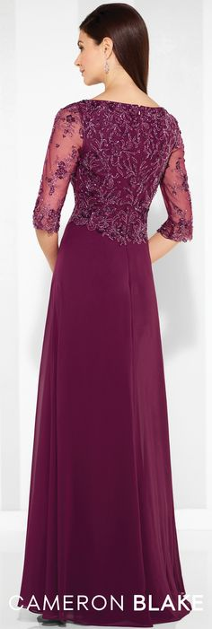 Cameron Blake - 117603 - Chiffon A-line gown with hand-beaded illusion three-quarter length sleeves, Sabrina neckline, hand-beaded bodice.Sizes: 4 – 20, 16W – 26WColor: Merlot
