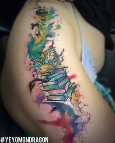 fairy tale book theme watercolor tattoo by Yeyo Mondragon