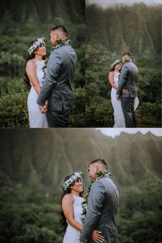 We found the perfect spot in the beautiful green hawaiian mountains for Taylor and Elika's Adventure elopement in Hawaii. The bride wore an elegant lace wedding dress with a traditional hawaiian flower lei crown. Mountain Elopement in Oahu, Hawaii. Family Elopement Pictures. Browse the blog to see more from this Adventurous Hawaii Elopement! Anela Benavides Photography. Whimsical Wedding Inspiration, Elopement Inspiration, Hawaii Adventures, Lace Wedding, Wedding Dress, Flower Lei, Maui Wedding Photographer, Hawaii Elopement, Mountain Elopement