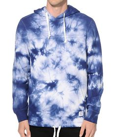 Stand out on the streets with a stylish blue and white tie dye design and a unique adjustable drawstring hem for a comfortable fit.