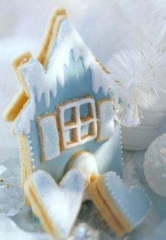 Christmas Blue Snow House Cookies