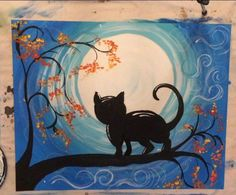 Learn How to Paint a Cat and Moon Acrylic Canvas Tutorial by Tracie Kiernan