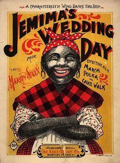 "Jemima's Wedding Day ""Jemima"" Character on 1899 Cake Walk Sheet Music Ccover"